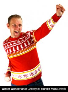 Finding Gaps in a Market- Cheesy Christmas Jumpers - image - man fist pumping wearing cheesy christmas jumper